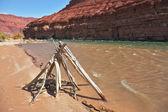 Indian ritual construction of poles — Stock Photo