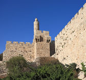 The Tower of David and sunset — Stock Photo
