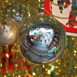Mirror balls and gold tinsel decorated hall — Stock Photo #18060431