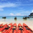 Постер, плакат: Red canoes and boats Longtail awaiting tourists