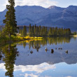 Lake and mountains in the distance — Stock Photo