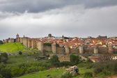 The protective wall surrounding the Spanish city of Avila — Stock Photo