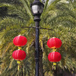 The usual lamppost decorated by beautiful red lanterns in the Ch — Stock Photo