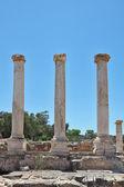 Three columns on the excavation of a Roman amphitheater — Stock Photo
