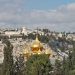 Magnificent gold domes of church in Jerusalem — Stock Photo