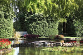 A pond and elegantly trimmed trees — Stock Photo