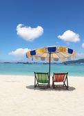 Elegant beach loungers on the beach near Krabi — Stock Photo