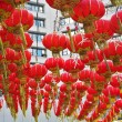 The traditional red lanterns decorating the Chinese city — Stock Photo
