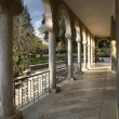 Stock Photo: Colonnade in monastic to garden