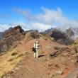 The tourist photographs a grandiose panorama in mountains — Stock Photo