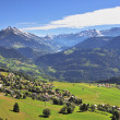 Gorgeous weather in the resort of Leysin — Stock Photo