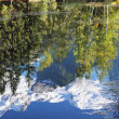 Stock Photo: Reflections of snow-capped peaks and trees