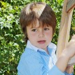 The spoiled green-eyed boy climbed up a wooden — Stock Photo #33112041