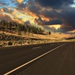 The world's best American road to sunset — Stock Photo