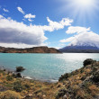 The turquoise lake Pehoe in park Torres del Paine, Chile — Stok fotoğraf