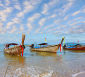 Boats Longtails anchored — Stockfoto