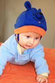 The four-months boy in a blue hat  — Stock Photo
