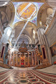 The marble hall in the Holy Sepulchre lit bright sun — Stock Photo