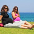 Two charming young pregnant women — Stock Photo