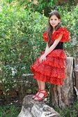 The charming eight-year girl — Stockfoto