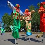 VELIKIJ NOVGOROD, RUSSIA - JUNE 10: clowns on town street at day — Stock Photo #11212469