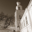 Bell tower of the ancient orthodox priory, sepia — Stock Photo