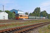 Small train on railway station — Zdjęcie stockowe
