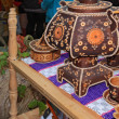 Decorative samovar on rural market — Stock Photo