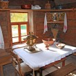 Interior in rural wooden house — Stock Photo