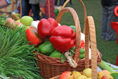 Red pepper on rural market — Stock Photo