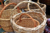 New baskets on rural market — Stock Photo