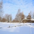 Wooden chapel in winter village — Stock Photo #13893805