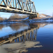 Railway bridge through small river — Foto de Stock