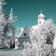 Christian orthodox church in snow — Stock Photo