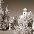 Foto de Stock  : Orthodox christichurch amongst snow tree, sepia