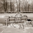 Bench in winter park, sepia — Stock Photo