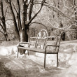 Bench in winter park, sepia — Stock Photo #13894594