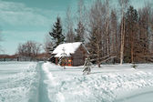 Rural house near snow lane — Stock Photo