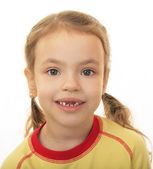Little girl with no upper teeth. — Stock Photo