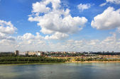 Summer urban landscape with clouds. Omsk. Russia. — Stock Photo