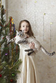 Beautiful girl with a cat near a Christmas tree. — Stock fotografie