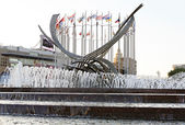 """Fountain """"The Rape of Europa"""" on the square of Europe. Moscow. — Stock Photo"""