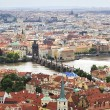 Vltava River and the Charles Bridge in Prague (View from the tow — Stock Photo