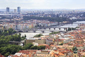 Vltava River and Bridges in Prague (View from the tower of Saint — Stok fotoğraf