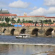 Charles Bridge (medieval bridge in Prague on River Vltava). — Stock Video #31537845