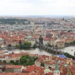 Charles Bridge (View from the tower of Saint Vitus Cathedral). — Stock Video