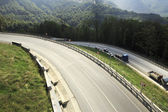 New road in the Caucasus mountains of Krasnaya Polyana. — Stock Photo