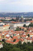 Saint Vitus Cathedral and Prague Castle. View from Petrin Lookou — Stockfoto