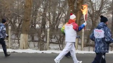 Olympic Torch Relay in Omsk. Russia. — Stock Video
