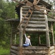 Little girl in old mill. Altai Krai. — Stock Photo #37356087